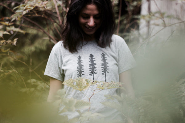 sitka tree organic cotton tshirt on a hike in canada