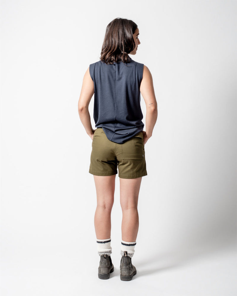 ecologyst Womens The Hiking Short Organic Cotton Twill - Green