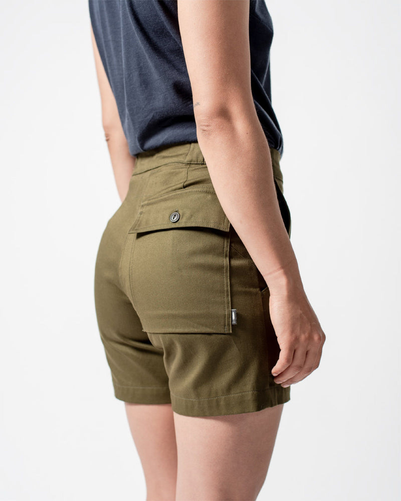 ecologyst Womens The Hiking Short Organic Cotton Twill - Green - All - Hero