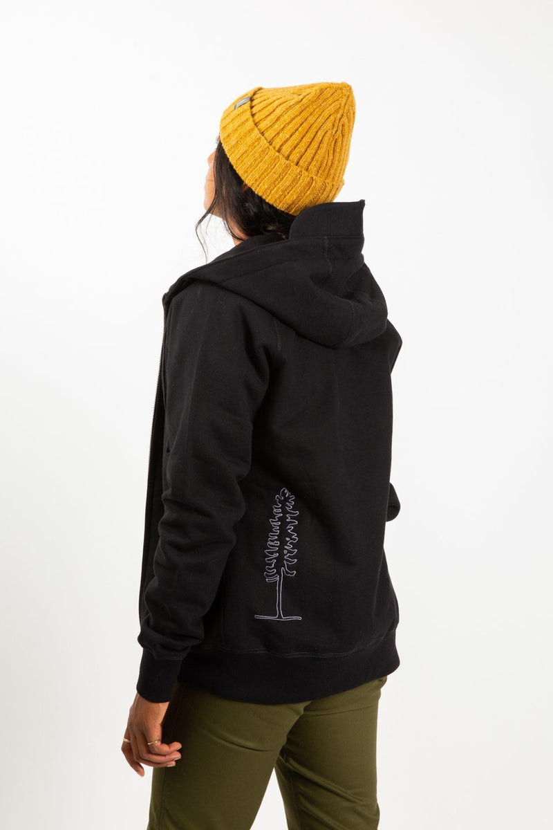 Sitka Peak Hoodie Black Organic Cotton on Woman back view