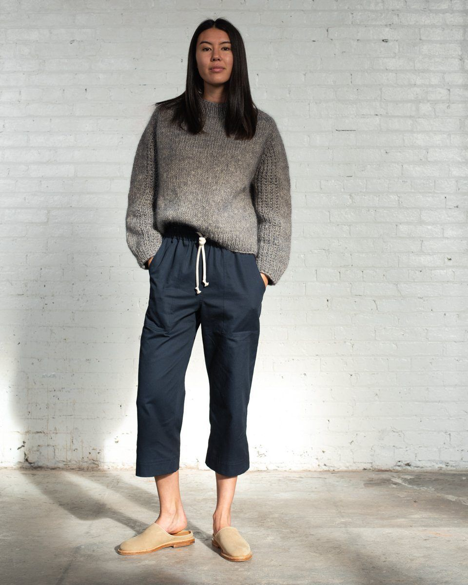 Womens The Twill Culottes in Navy Front #colour_navy
