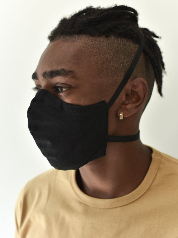 Man in black cotton/linen face mask