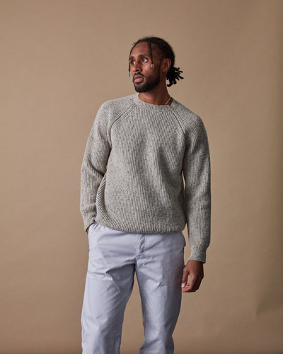 Men's Fisherman Sweater in Speckled Oat Front #colour_speckled-oat