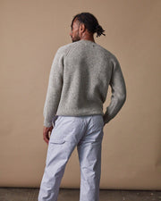 Men's Fisherman Sweater in Speckled Oat Back #colour_speckled-oat