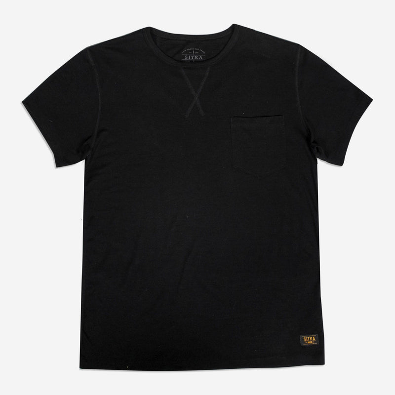 Sitka Men's Merino Wool Pocket T-Shirt - The 165 Merino Tee - Black - Vimeo - 262246684