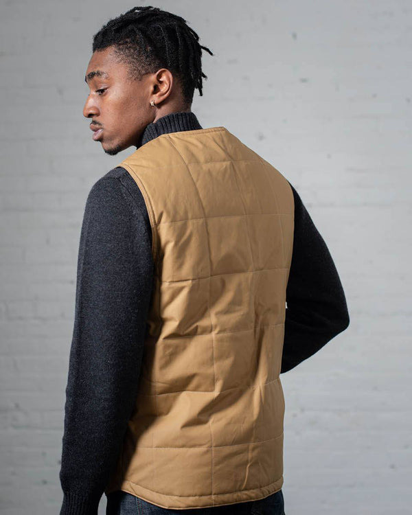 Puffy Vest in Tan Back