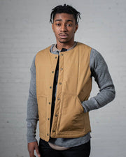 Gender Neutral The Puffy Vest in Tan Front #colour_tan