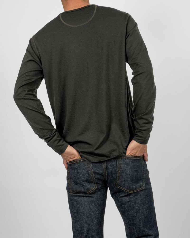 Sitka - ecologyst Unisex Merino Wool Henley Long Sleeve - Sitka Green - The 210 Merino Henley - Back - Mens