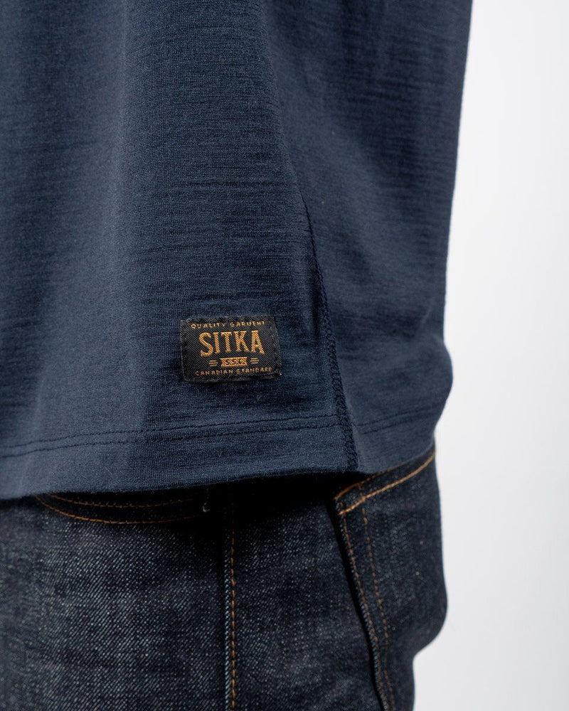 Sitka Unisex Merino Wool Henley Long Sleeve - Dusk Blue - The 210 Merino Henley - Detail - Mens