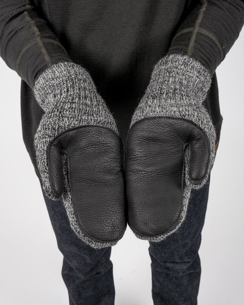 Sitka x Upstate Stock American Ragg Wool Deerskin Palm Leather Mitten Charcoal Black Woven Label - Charcoal/Black Leather