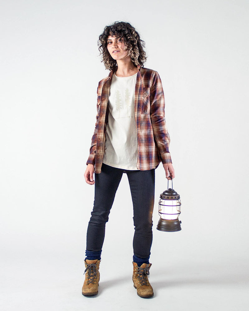 Sitka Women's Organic Cotton Plaid Flannel Camp Shirt - Brown Plaid - The Field Shirt - Hero
