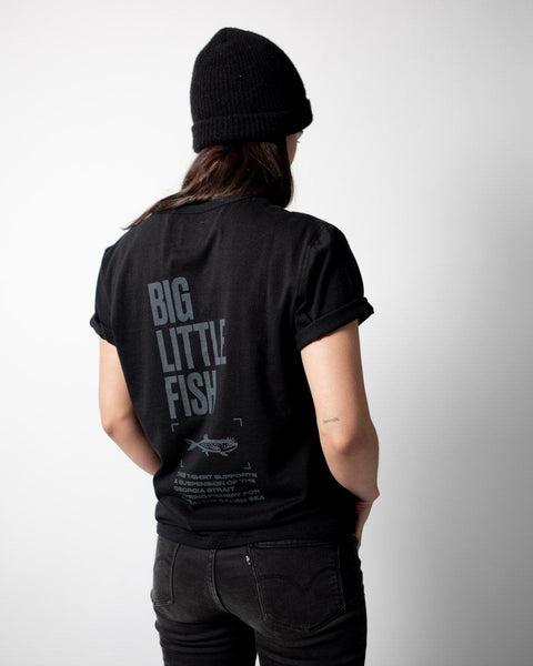 Sitka Unisex Organic Cotton Jersey Little Big Fish Herring T-Shirt  - Black