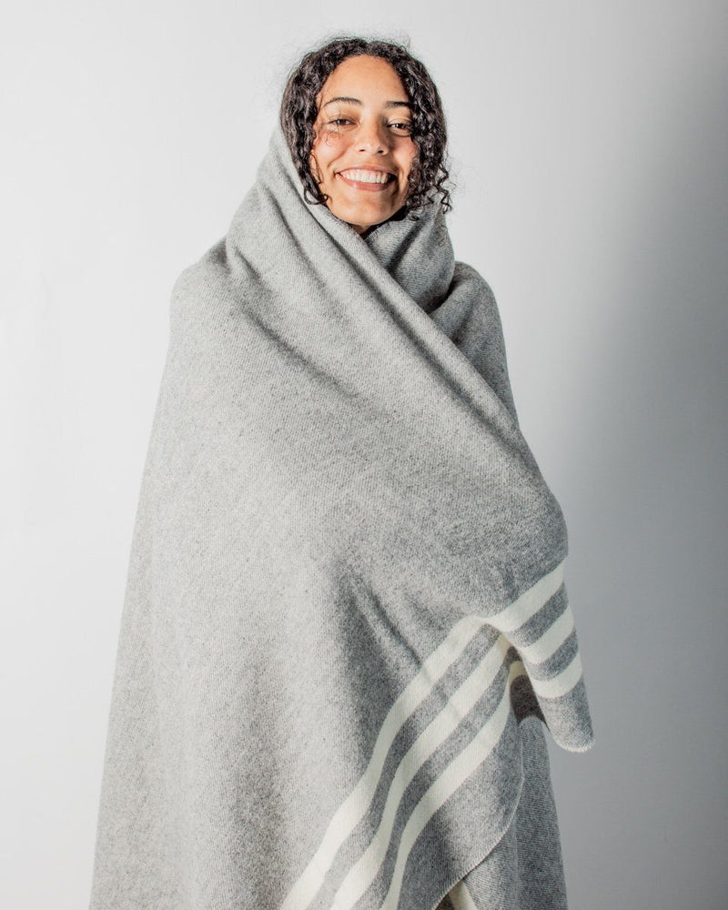 ecologyst Faribault The Merino Wool Blanket Cream Strips - Heather Grey - Hero - ecologyst - sitka