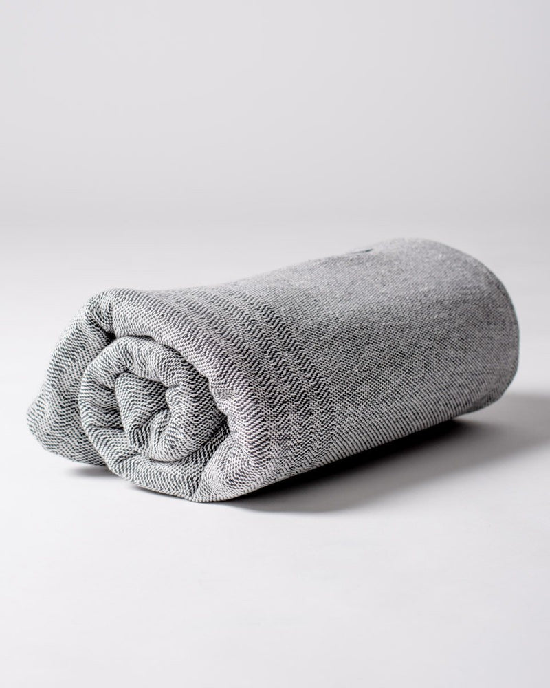 Sitka Faribault The Recycled Cotton Blanket Eco-Cotton Polyester Beach Throw - Charcoal