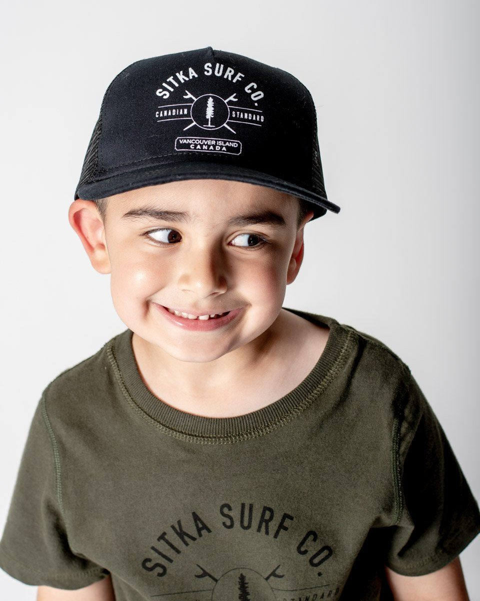 Sitka kid s cap fit. 5-panel construction made with 100% organic cotton and  polyester mesh. 37634de6f79