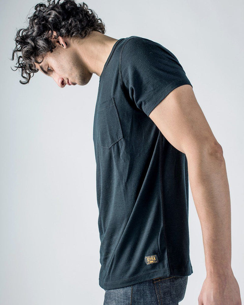 Sitka Men's Merino Wool Pocket T-Shirt - The 165 Merino Tee - Black - Side Profile Detail