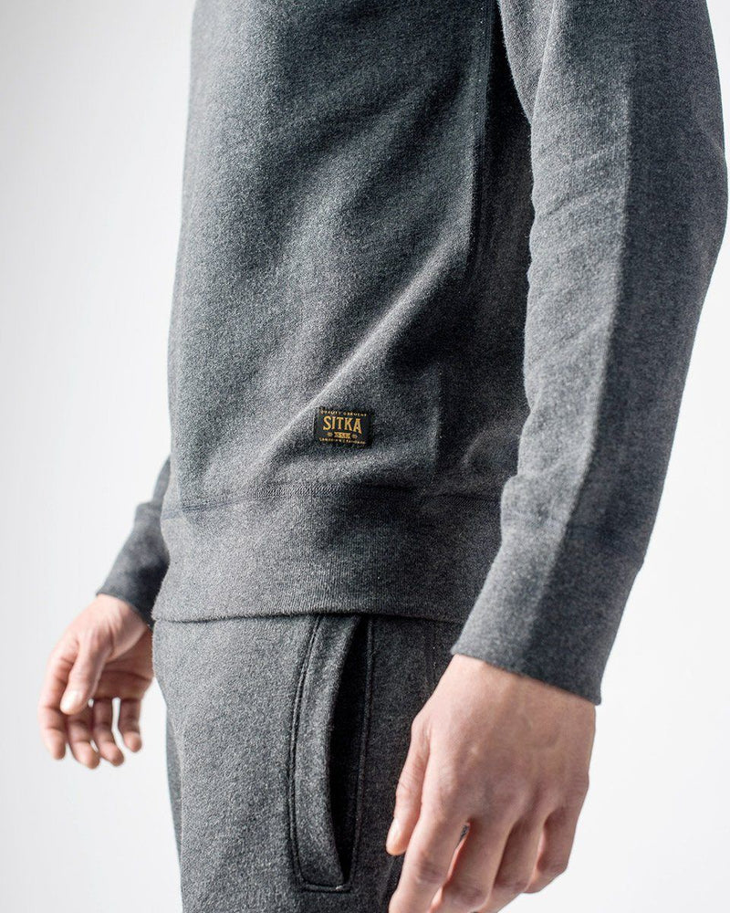 Sitka - ecologyst Men's Organic Mid Weight Terry French Cotton Crewneck - Dark Heather Grey - The 375 Terry Crew - Side Detail