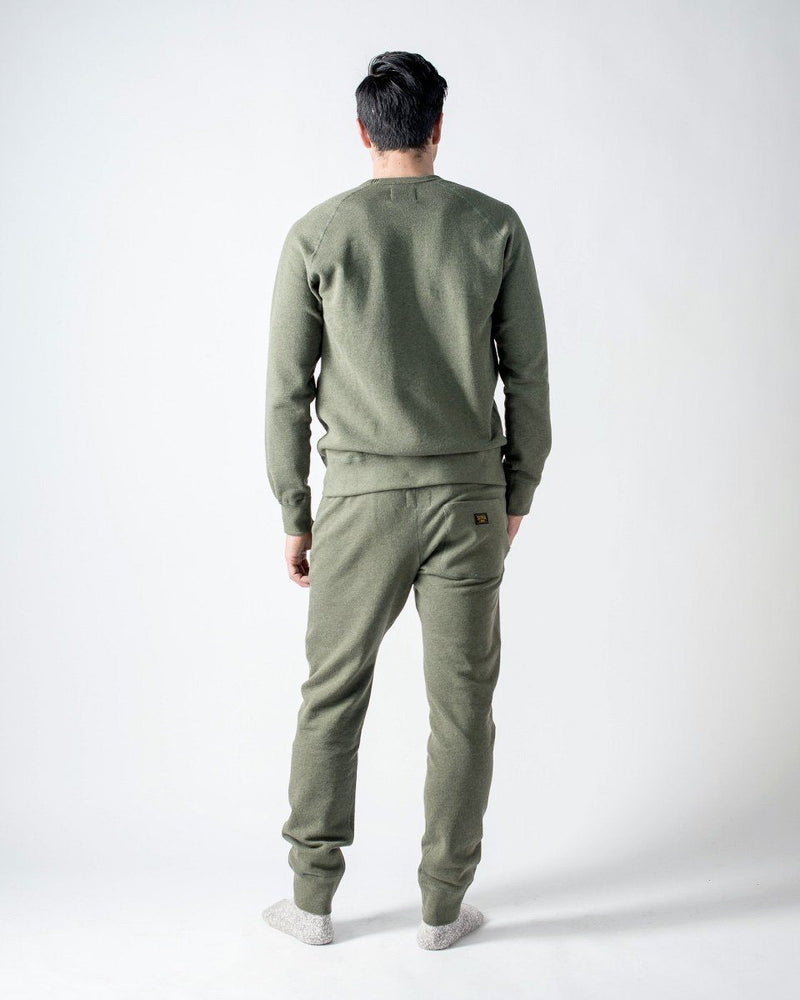 Sitka - ecologyst Men's Organic Mid Weight Terry French Cotton Crewneck Sweatpants - Heather Moss Green - The 375 Terry Crew Sweatpant - Back