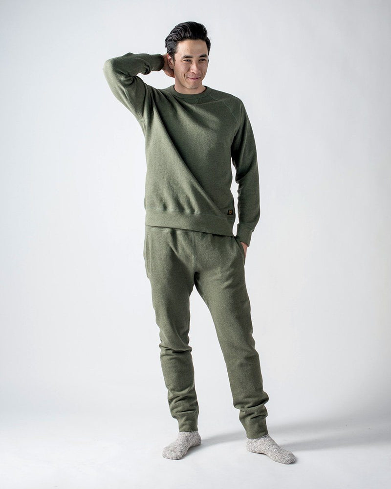 Sitka - ecologyst Men's Organic Mid Weight Terry French Cotton Crewneck Sweatpants - Heather Moss Green - The 375 Terry Crew Sweatpant - Front
