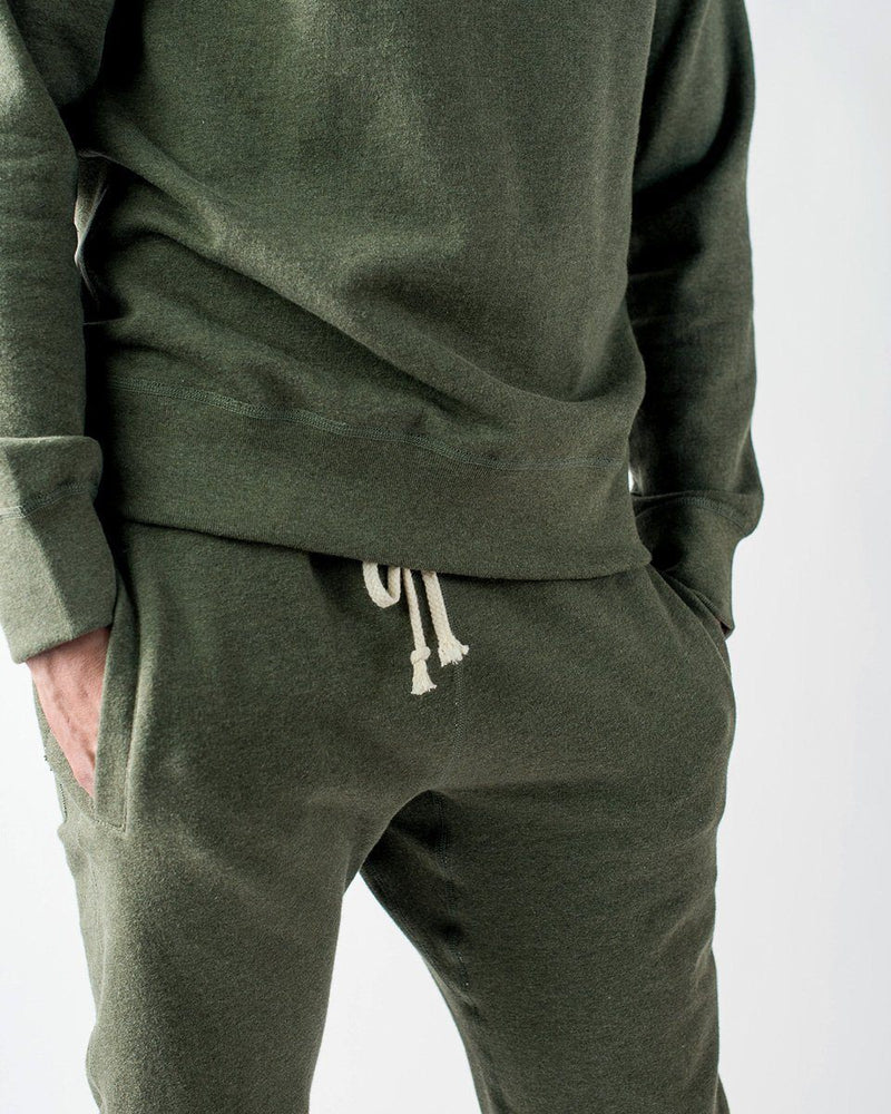 Sitka ecologyst Men's Organic Mid Weight Terry French Cotton Crewneck Sweatpants - Heather Moss Green - The 375 Terry Crew Sweatpant - Hem Detail
