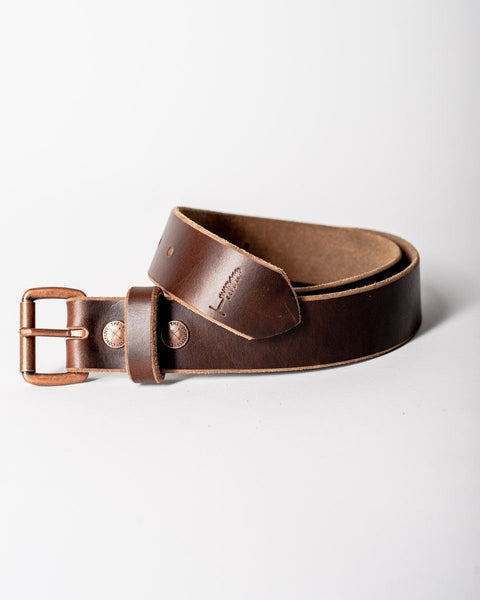 Sitka Populess Company The Sitka Belt 9/10oz Horween Leather By-Product Metal Hardware - Rustic Brown