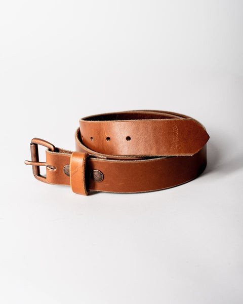 Sitka Populess Company The Sitka Belt 9/10oz Horween Leather By-Product Metal Hardware - Brown