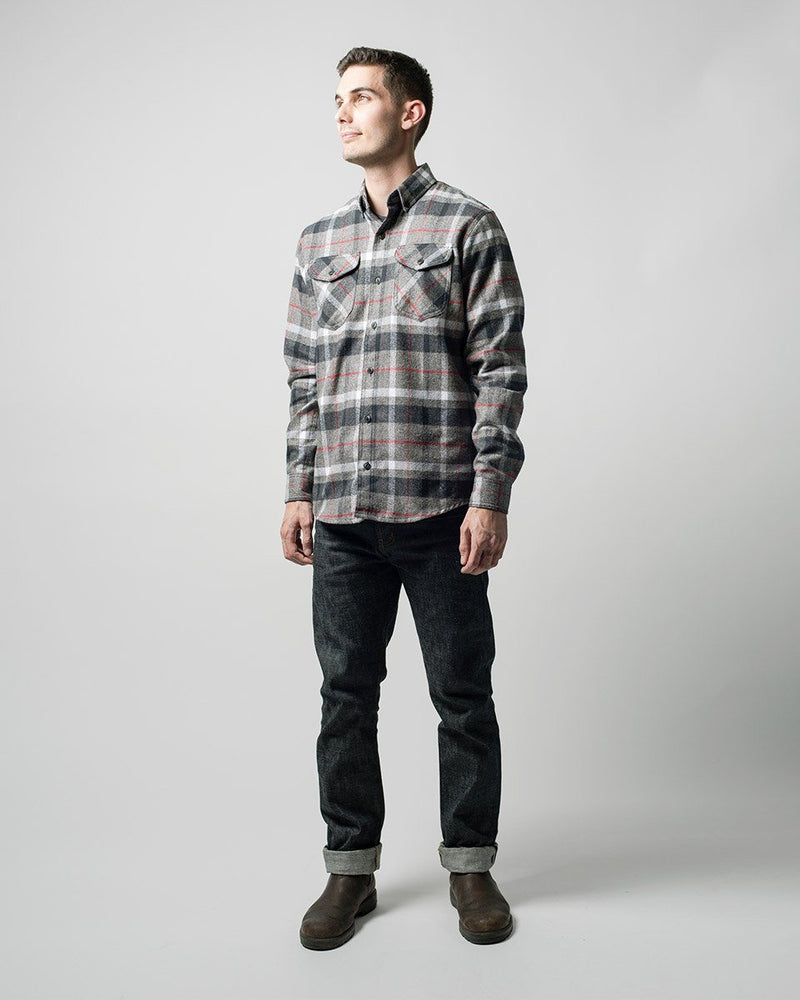 ecologyst Genderless The Cabin Shirt Plaid Flannel Brushed Cotton Button Up Shirt Patch Pocket Closure Cuff Openable Placket - Grey - Mens