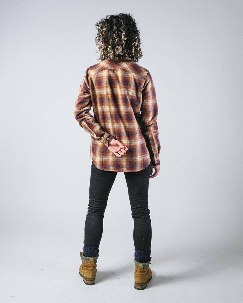 Sitka Women's Organic Cotton Plaid Flannel Camp Shirt - Brown Plaid - The Field Shirt - Back