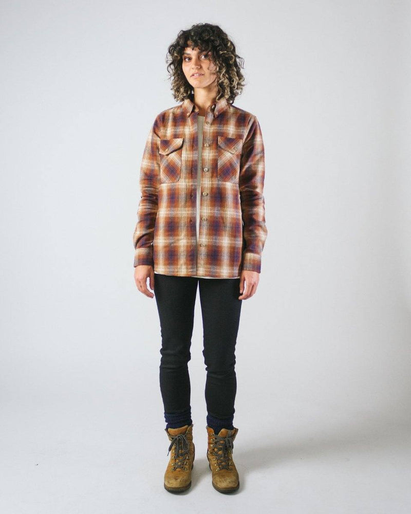 Sitka Women's Organic Cotton Plaid Flannel Camp Shirt - Brown Plaid - The Field Shirt - Front