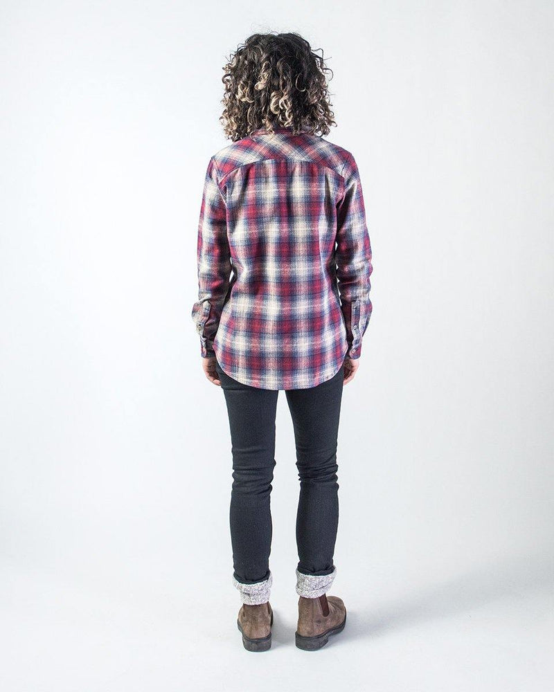 Sitka Women's Organic Cotton Plaid Flannel Camp Shirt - Red Plaid - The Field Shirt Back