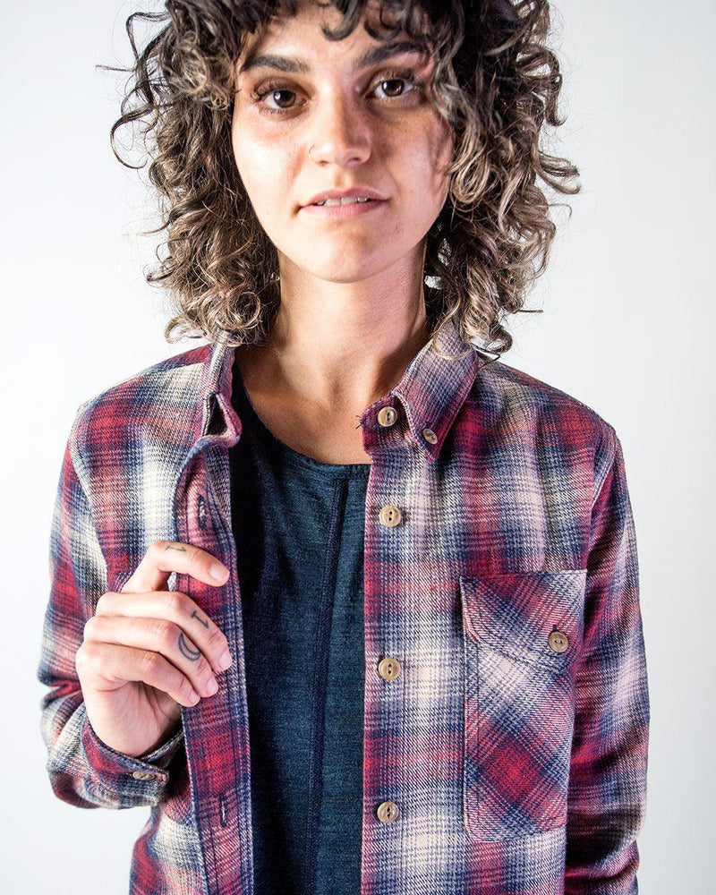 Sitka Women's Organic Cotton Plaid Flannel Camp Shirt - Red Plaid - The Field Shirt Portrait