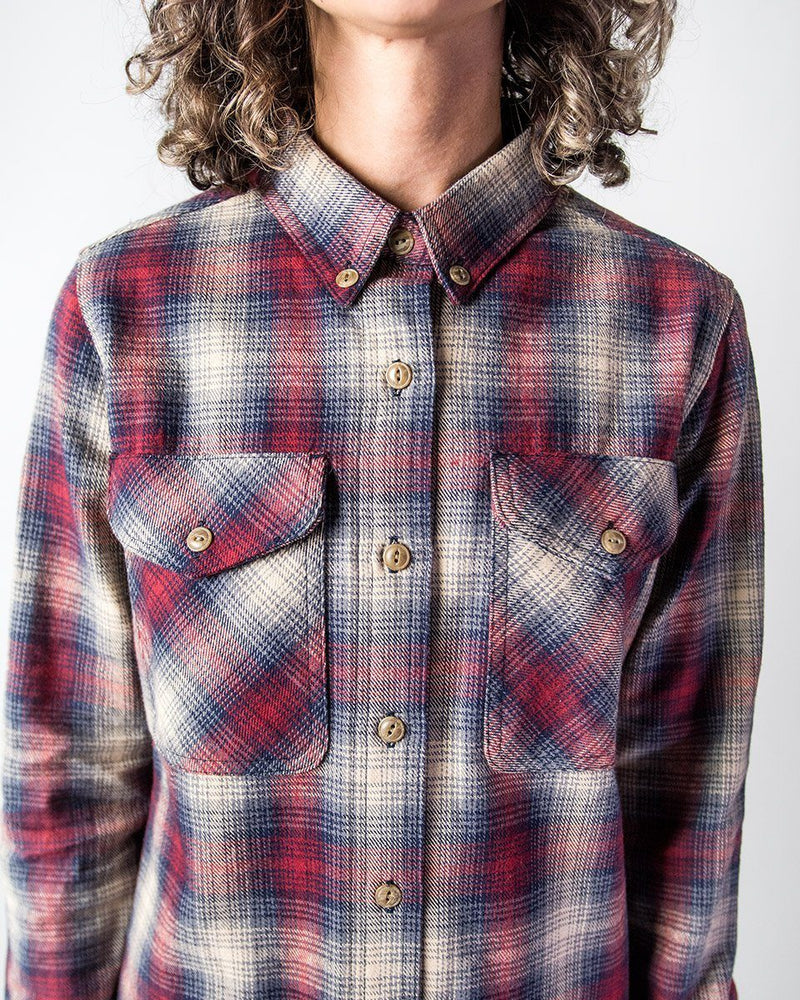 Sitka Women's Organic Cotton Plaid Flannel Camp Shirt - Red Plaid - The Field Shirt - Detail