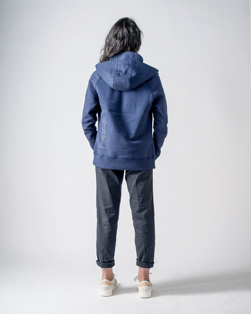 Sitka Women's Organic Heavy Weight Cotton Fleece Peak Hoodie - Dusk Blue - The Peak Hoody - Back