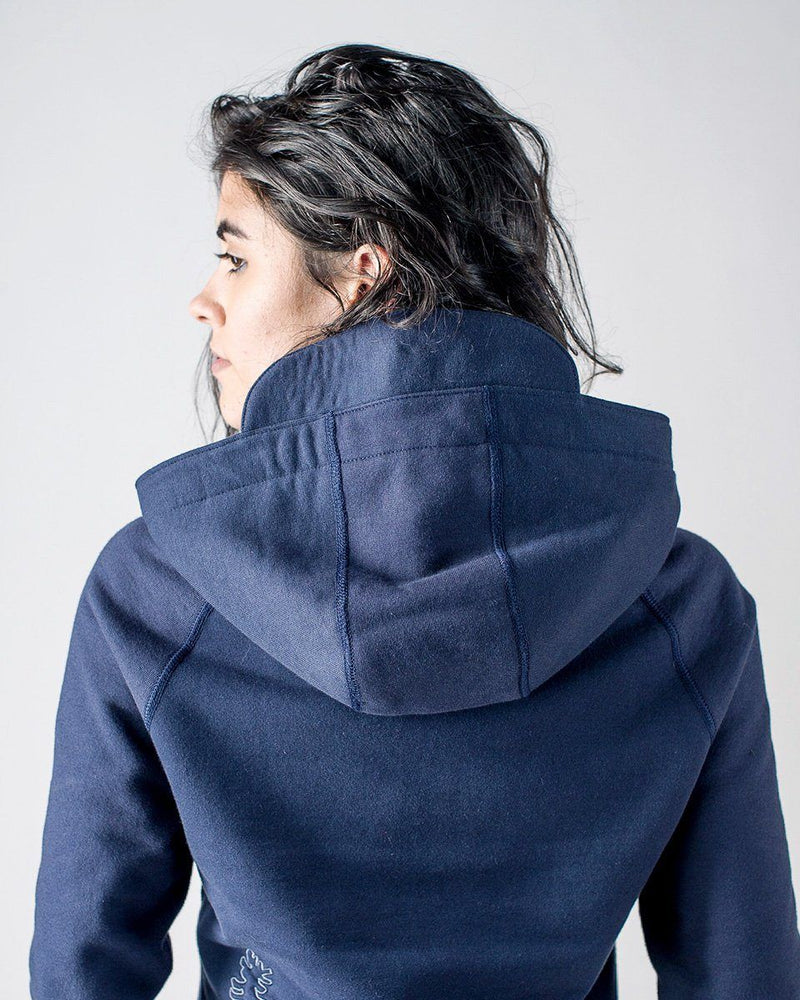 Sitka Women's Organic Heavy Weight Cotton Fleece Peak Hoodie - Dusk Blue - The Peak Hoody - Back Hood Detail