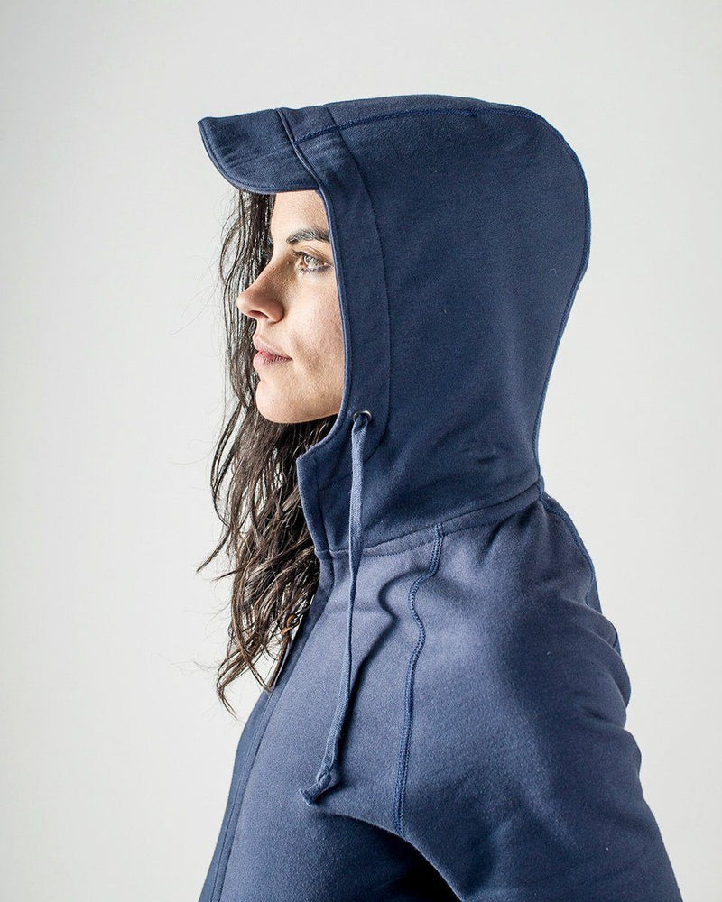 Sitka Women's Organic Heavy Weight Cotton Fleece Peak Hoodie - Dusk Blue - The Peak Hoody - Side Hood Detail