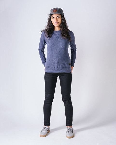 Sitka Women's Organic Mid Weight Terry French Cotton Crewneck The 375 Crew - Heather Lake Blue