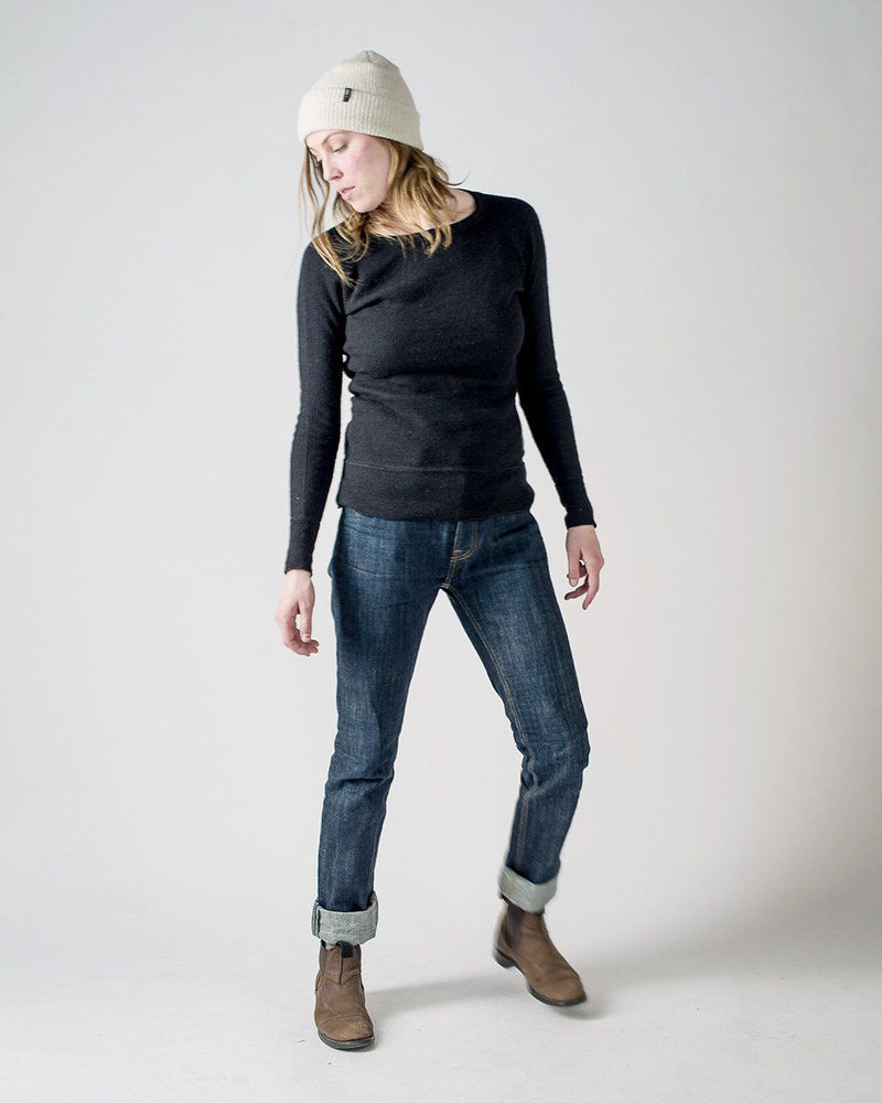 Women's Sitka x Stanfield's Wool Crewneck Crew - Black - Front