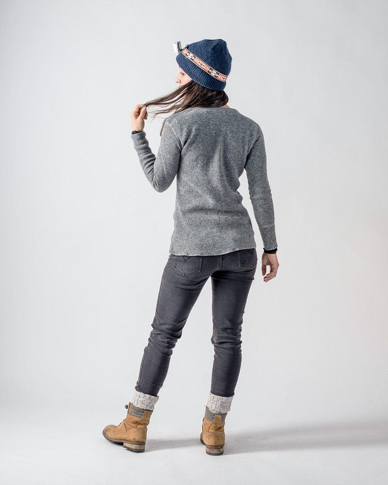 Women's Sitka x Stanfield's Wool Henley - Heather Grey - Back