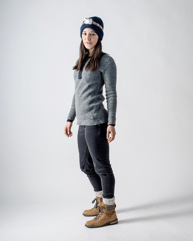 Women's Sitka x Stanfield's Wool Henley - Heather Grey - Front