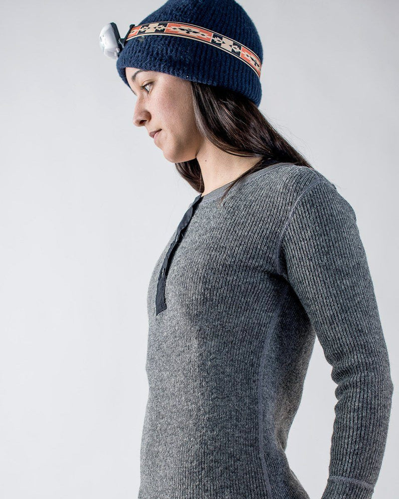 Women's Sitka x Stanfield's Wool Henley - Heather Grey - Side Detail