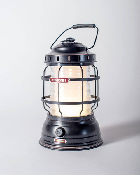Sitka x Barebones Living Forest Lantern / Antique Bronze Lantern / Rechargeable LED Cabin Lantern with charging ports