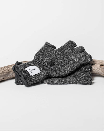 Sitka x Upstate Stock American Ragg Wool Fingerless Glove Black Melange Woven Label - Hero #colour_black