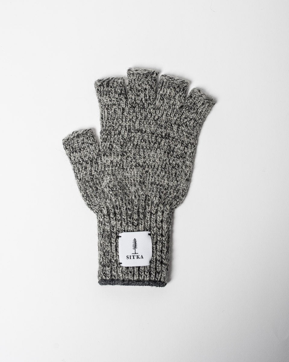 Sitka x Upstate Stock American Ragg Wool Fingerless Glove Charcoal Melange Woven Label#colour_charcoal