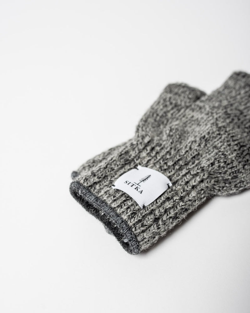 Sitka x Upstate Stock American Ragg Wool Fingerless Glove Charcoal Melange Woven Label