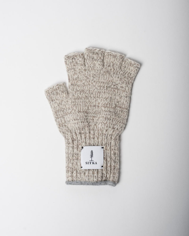 Sitka x Upstate Stock American Ragg Wool Fingerless Glove Oatmeal Melange Woven Label