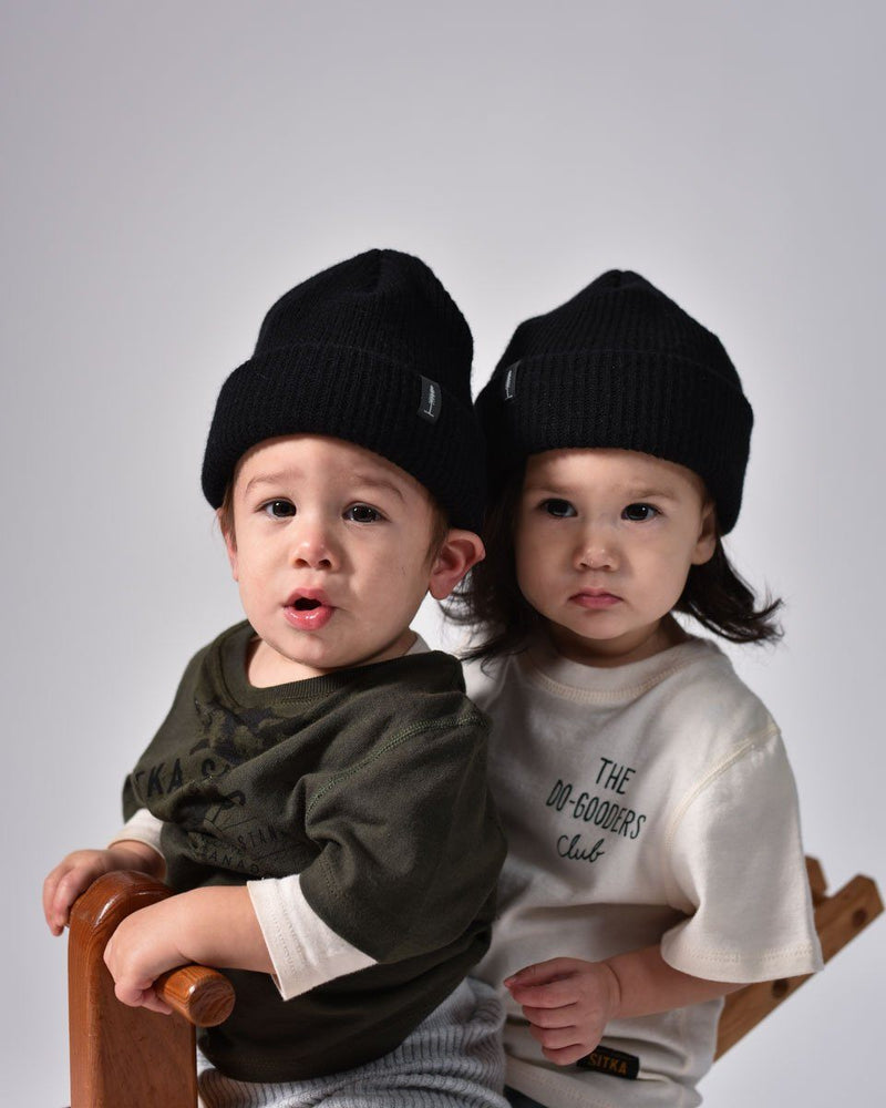 ecologyst - Merino Cashmere Wool - Kids Toque - Beanie - Black - Made in Canada