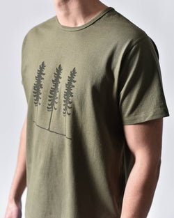 ecologyst - Sitka Work Tee - Tree Print - Heavy Weight - Unisex Organic Cotton Jersey - Green