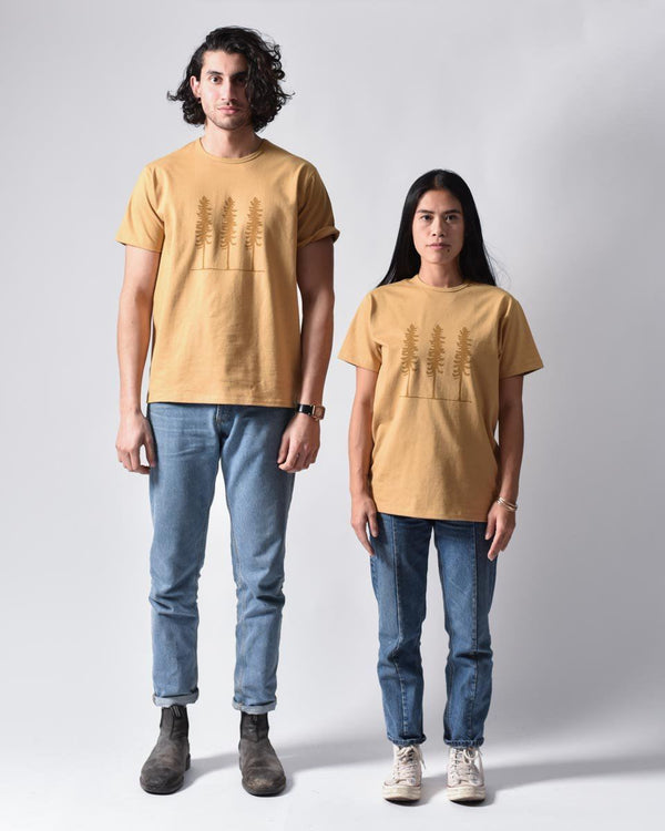 ecologyst - Sitka Work Tee - Tree - Print - Heavy Weight - Unisex Organic Cotton Jersey - Yellow