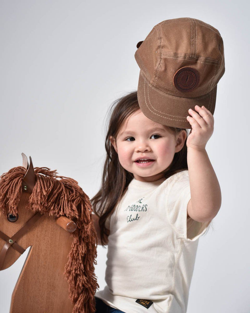 ecologyst Sitka Kids The Waxed Camp Cap Cotton Canvas Premium Leather SSC Patch Adjustable Metal Clasp 5-panel Hat - Tan