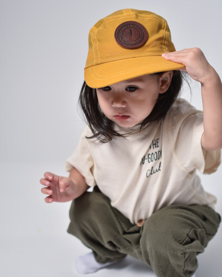 ecologyst Sitka Kids The Waxed Camp Cap Cotton Canvas Premium Leather SSC Patch Adjustable Metal Clasp 5-panel Hat - Yellow